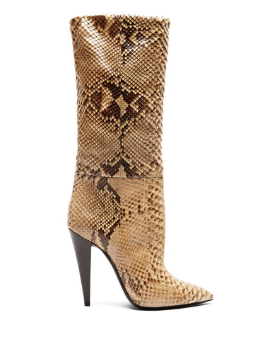 Charlotte point-toe python boots