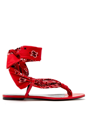 Dallas bandana-print wrap sandals