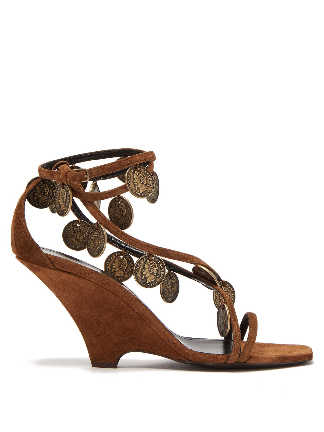 Kim coin-embellished suede wedge sandals