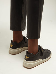 Travis perforated low-top leather trainers