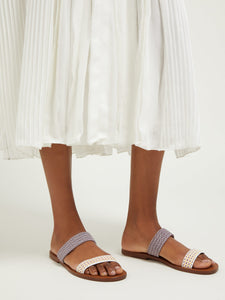 Millie raffia and leather slides