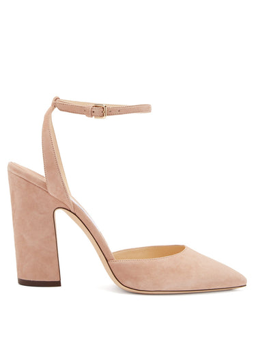 Micky 100 curved-heel suede pumps