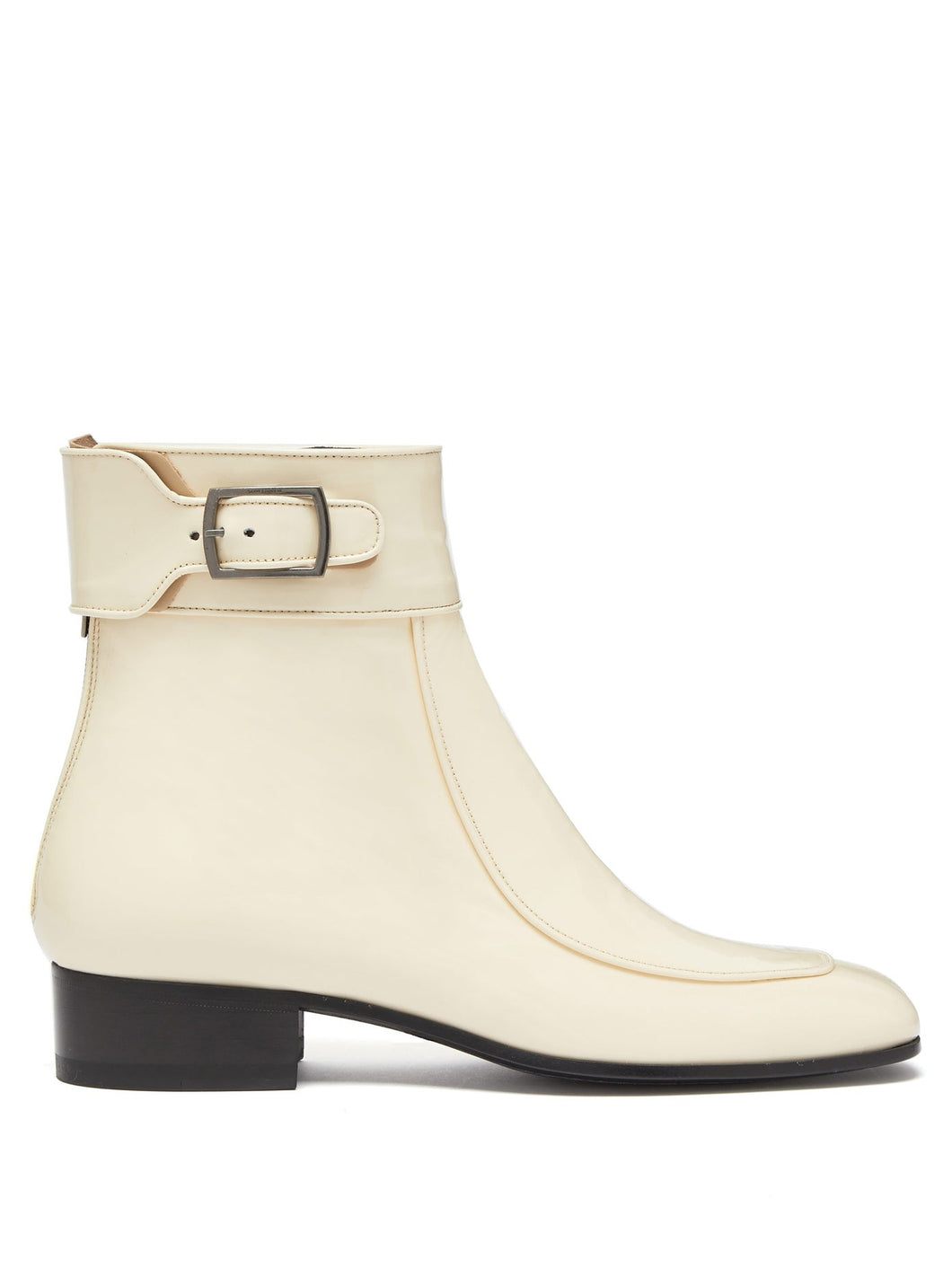 Miles square-toe patent-leather ankle boots
