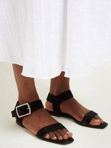 Oak suede and leather buckle sandals