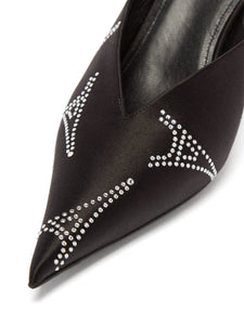 Knife crystal-embellished satin mules