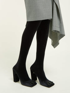 Double Square BB-logo over-the-knee velvet boots