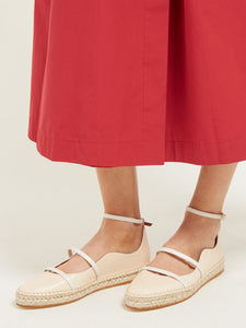 Selina waved-edge leather espadrilles