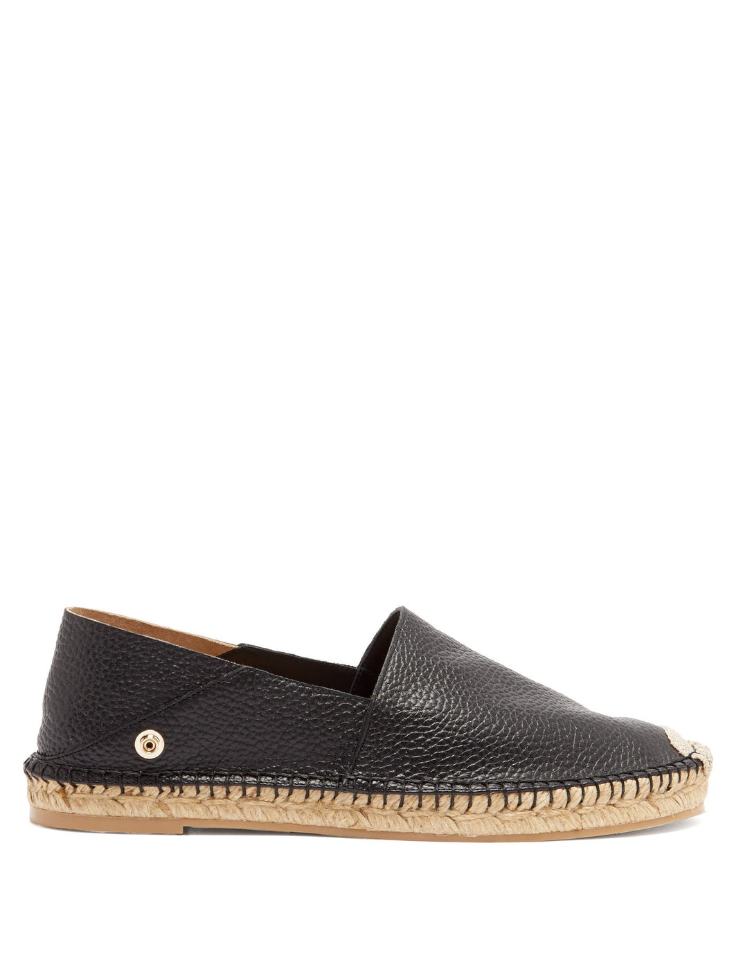 Feather-strap leather espadrilles