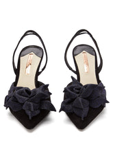 Load image into Gallery viewer, Jumbo Lilico floral-embellished suede heels