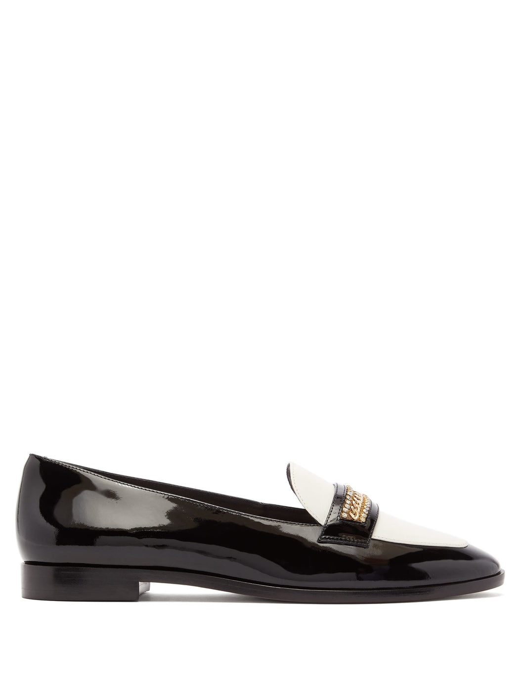 Blair crystal-trim patent-leather loafers