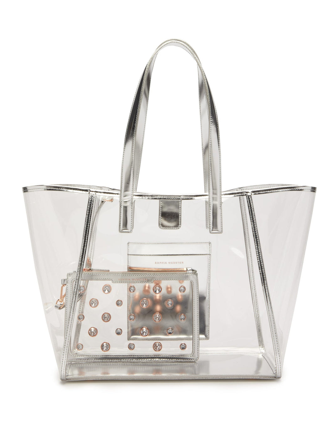 Dina leather-trimmed PVC tote bag