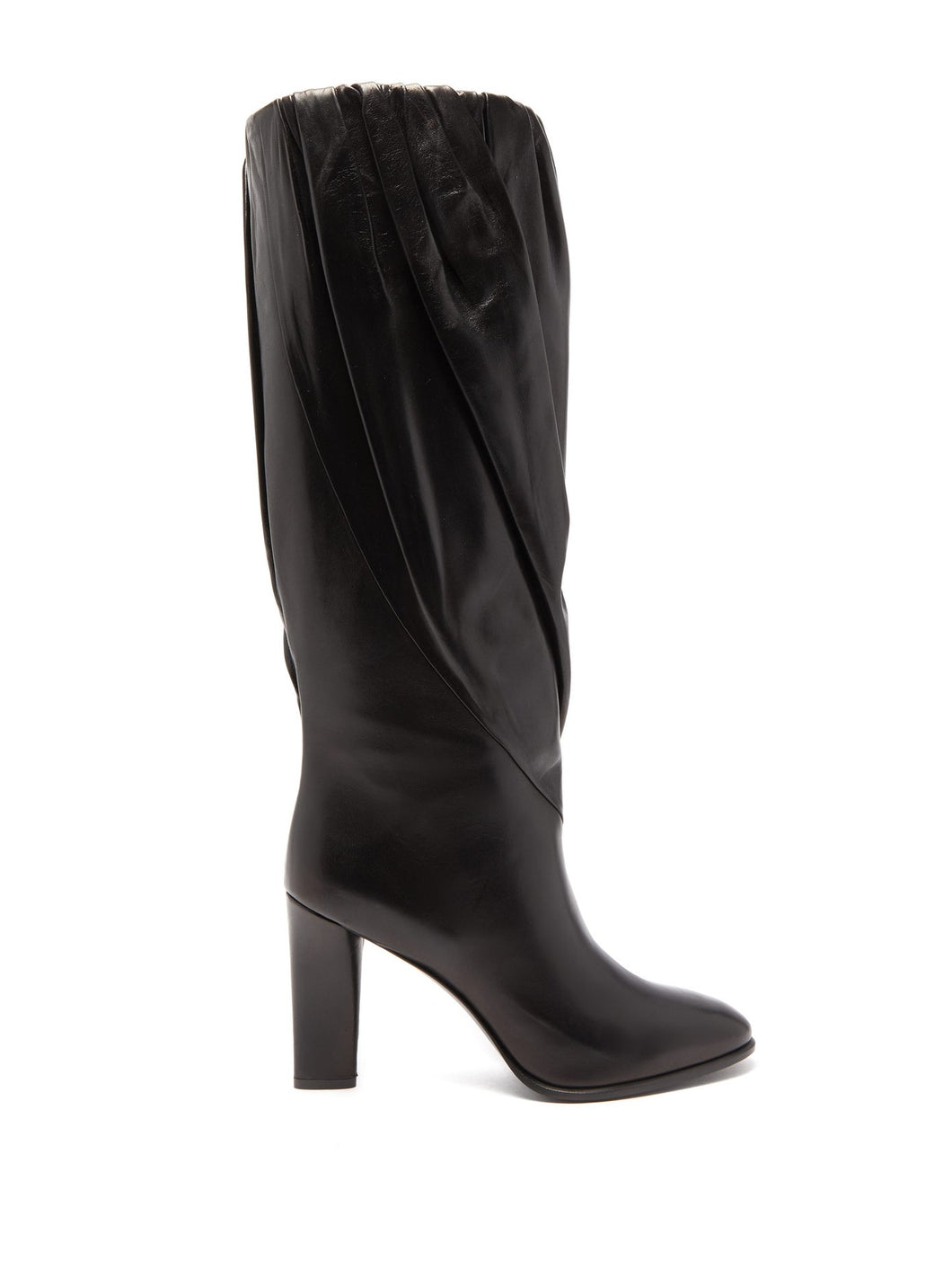 Gathered knee-high leather boots
