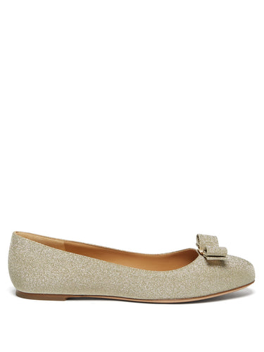 Varina glittered-leather ballet flats