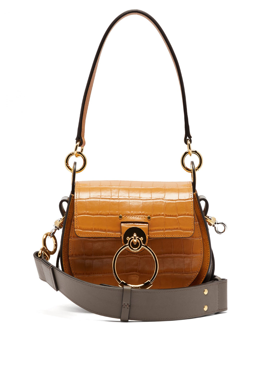 Tess small crocodile-effect leather cross-body bag