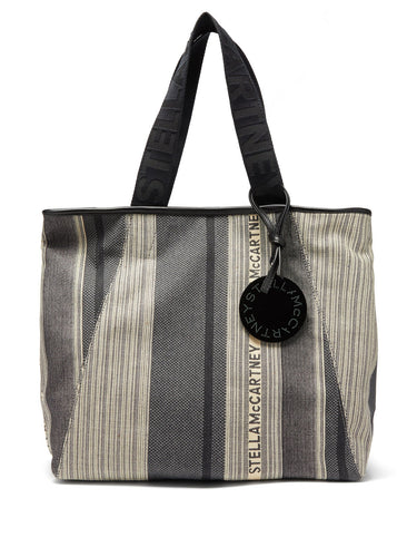 Patchwork logo-jacquard canvas tote bag