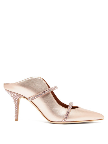 Maureen crystal-embellished metallic-leather mules