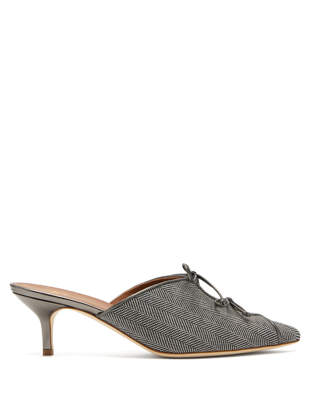 Victoria lace-up herringbone mules