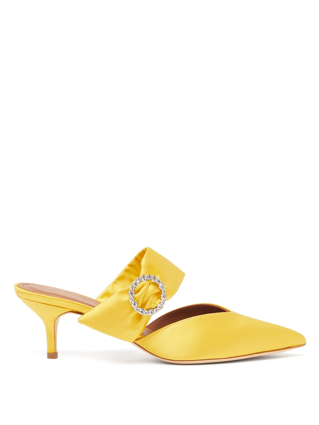 Maite crystal-buckle satin mules