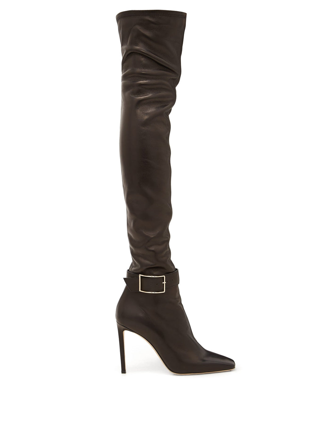 Takara 100 buckled leather over-the-knee boots