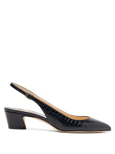 Gemma 40 crocodile-effect leather slingback pumps