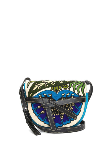 Gate floral-embroidered leather cross-body bag