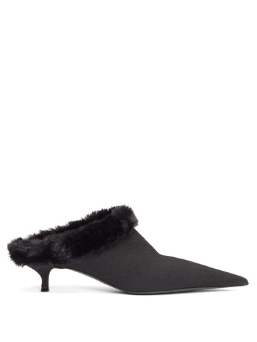 Faux-fur lined kitten heels