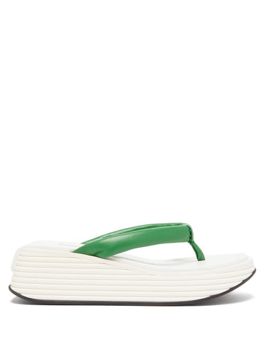 Kyoto platform-sole leather flip-flops