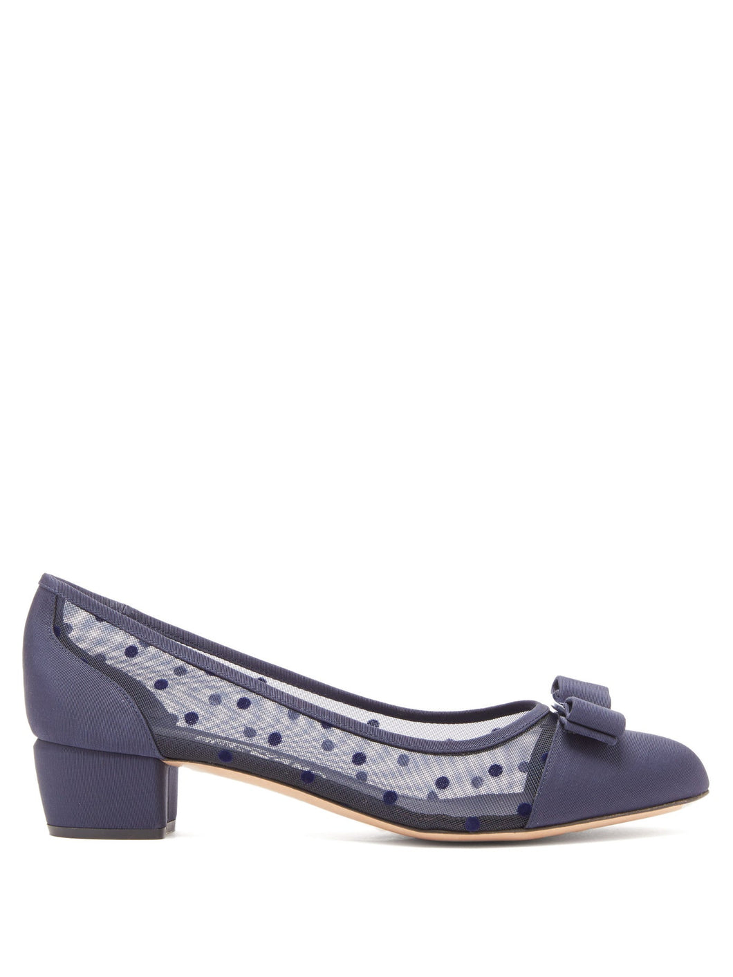 Vara polka-dot mesh pumps