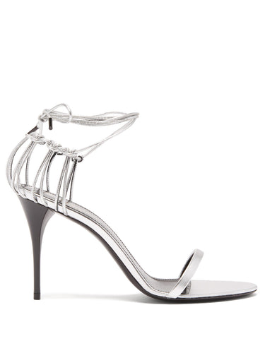 Lexi wraparound cage-heel leather sandals