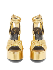 Bianca metallic-leather platform sandals