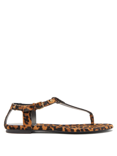 Gia leopard-print calf-hair sandals