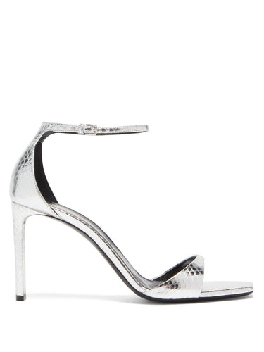 Bea metallic snakeskin-embossed leather sandals