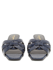 Tribute Nu Pieds crocodile-effect leather slides