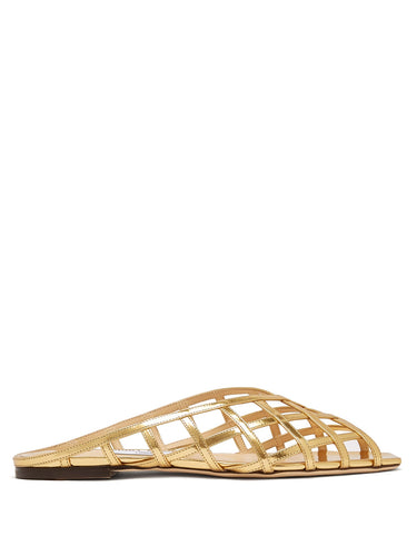 Sai caged metallic-leather sandals