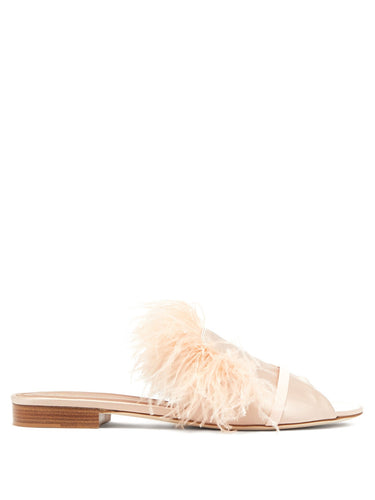 Marina feathered-embellished satin slides