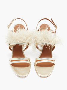 Sonia feather-trimmed metallic-leather sandals
