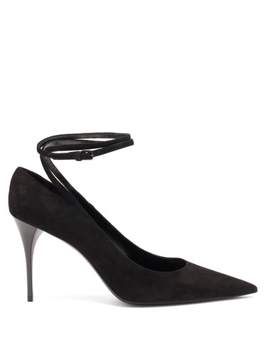 Lexi wraparound point-toe suede pumps