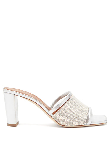 Demi beaded metallic-leather mules