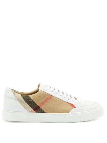 Salmond check-panel leather trainers