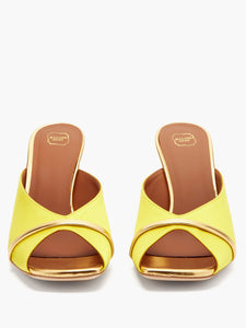 Lucia square-toe satin and metallic-leather mules