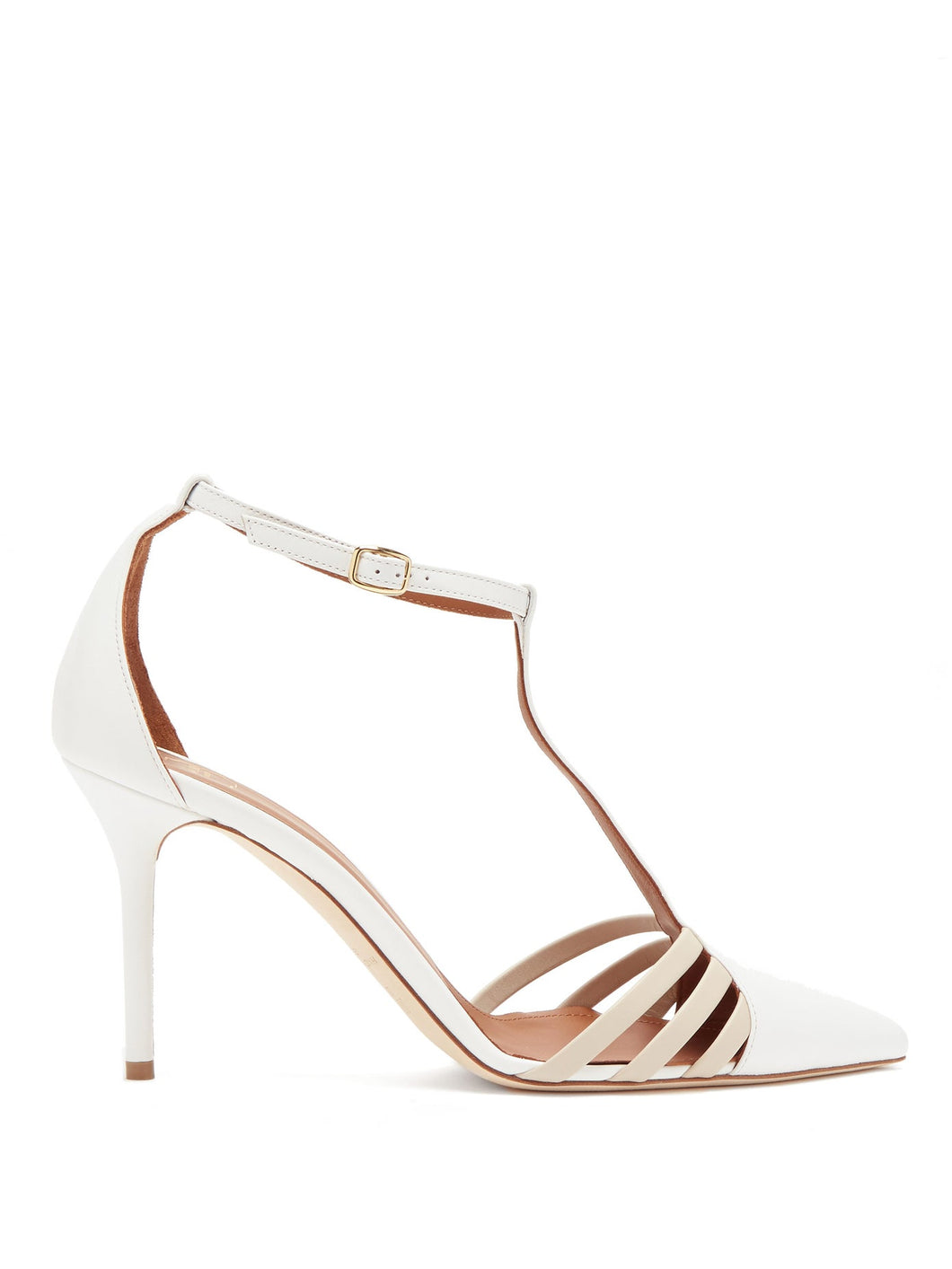 Ila caged point-toe leather pumps