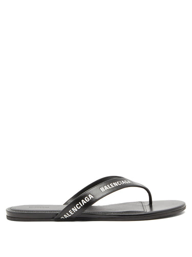 Logo-print leather sandals