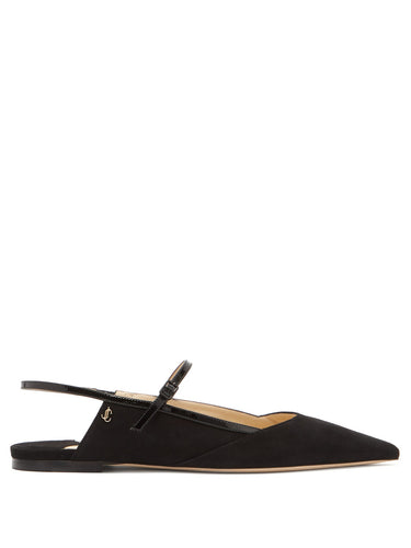 Ree point-toe slingback suede flats