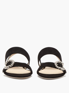 Saphera crystal-embellished suede sandals