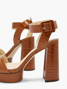 Jax 115 crocodile-effect leather platform sandals