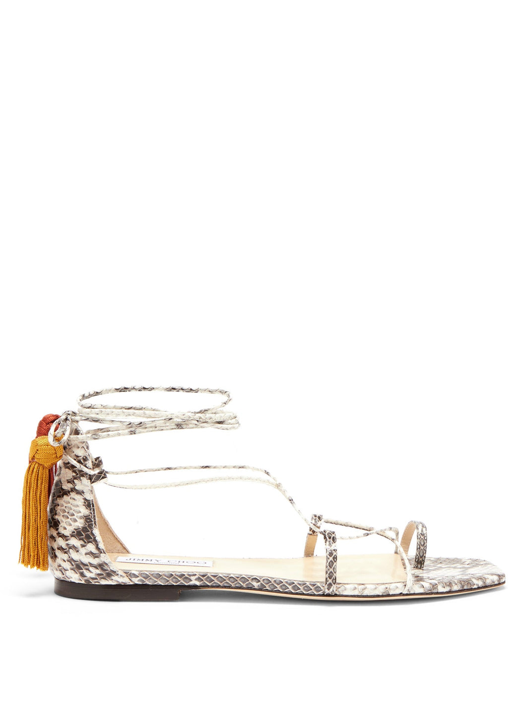 Dusti mismatched-tassel elaphe sandals