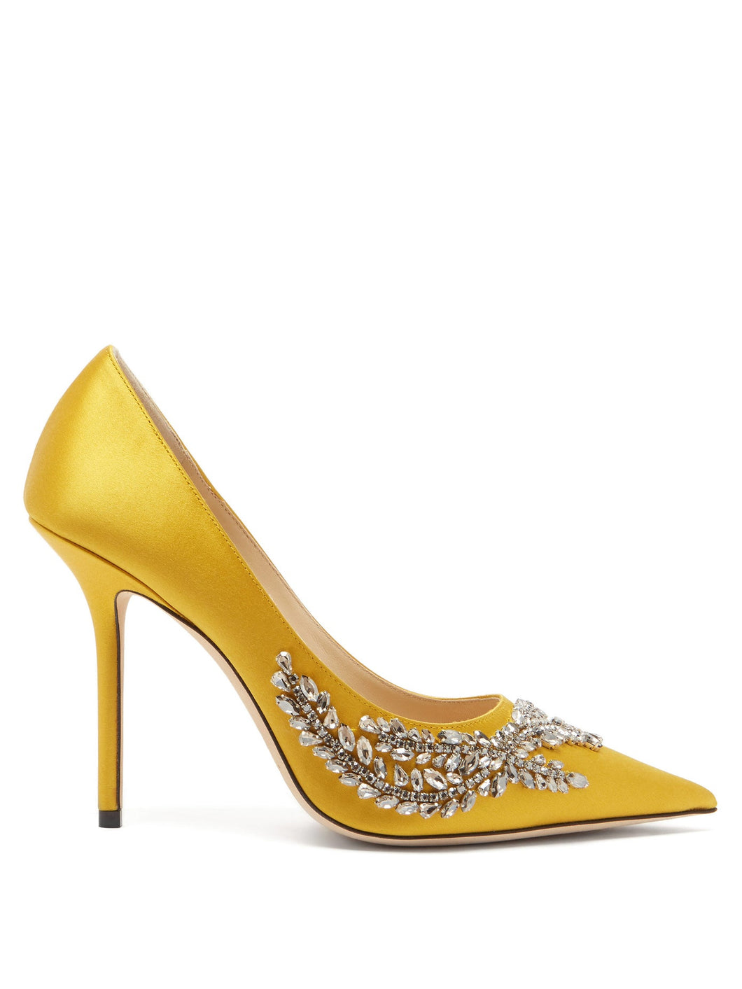 Love crystal-embellished satin pumps