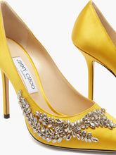Load image into Gallery viewer, Love crystal-embellished satin pumps