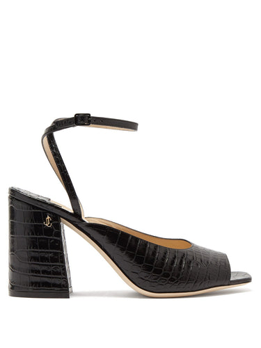 Jassidy peep-toe crocodile-effect leather sandals