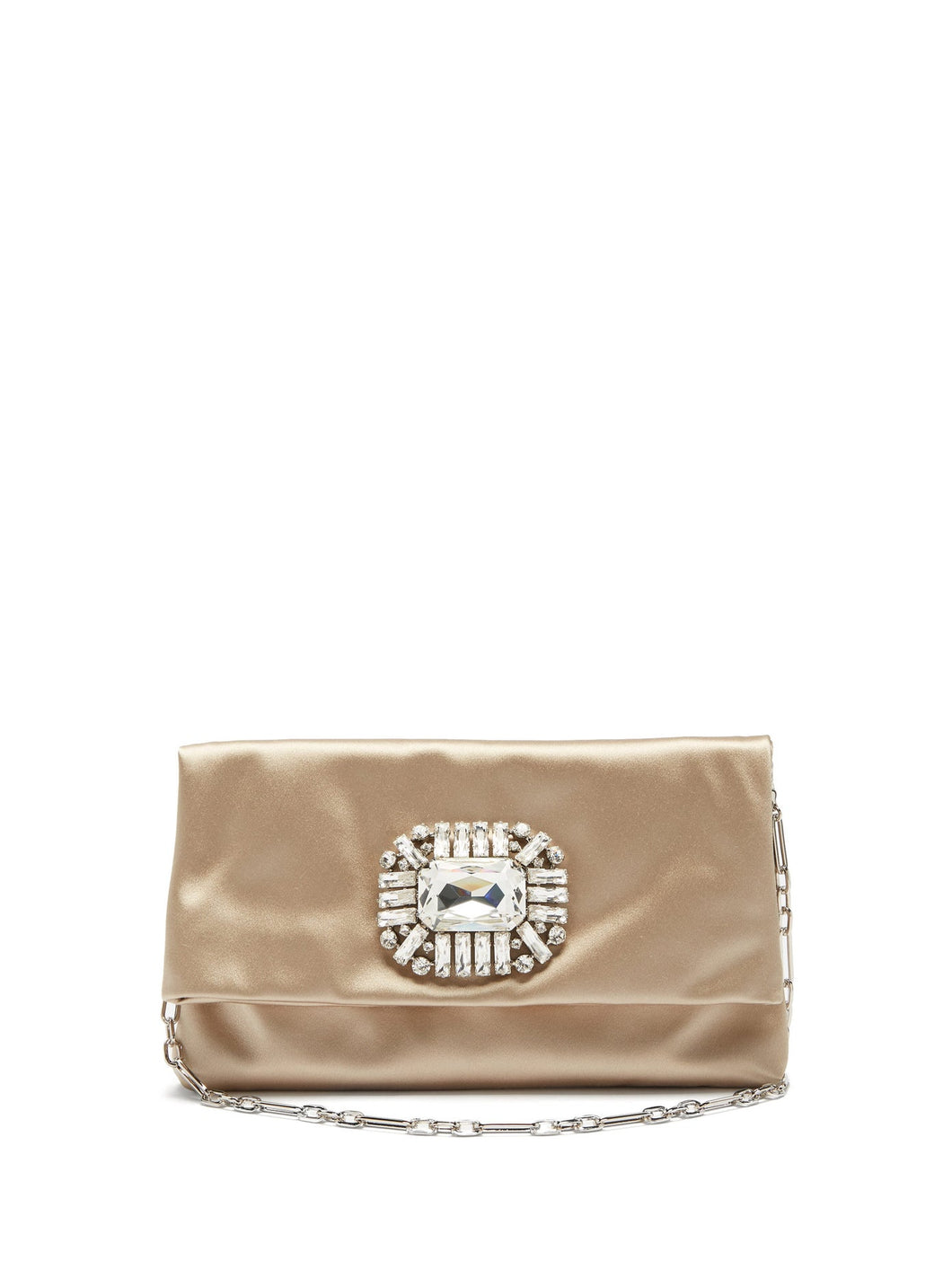 Titania crystal-embellished satin clutch